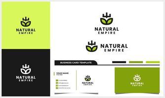 folha da natureza com conceito de logotipo de ícone de escudo e coroa e modelo de cartão de visita