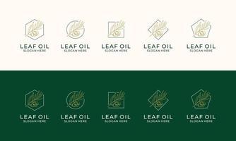 conjunto de etiqueta desenhada à mão de modelo de logotipo de azeite extra virgem vetor