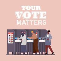 mulheres na cabine de votação com seu projeto de vetor de texto de questões de voto