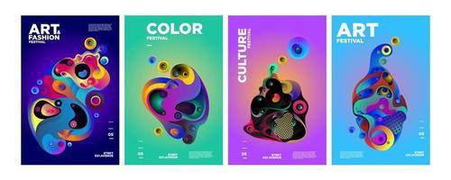 vetor colorido gradiente abstrato líquido e cartaz líquido