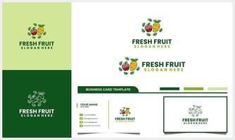 frutas frescas de maçã e manga com logotipo de folha da natureza com modelo de cartão de visita vetor