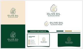 etiqueta desenhada à mão do logotipo do azeite de oliva extra virgem com modelo de cartão de visita vetor