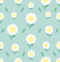 Padrão sem emenda de flor margarida branca no fundo vetor