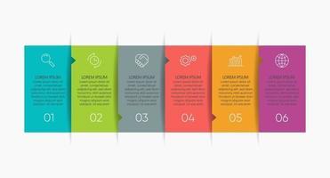 modelo de infográfico com 6 opções. vetor