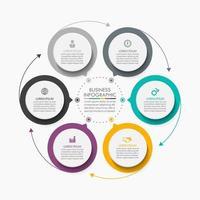 modelo de infográfico de seta de círculo com 6 opções. vetor