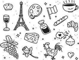 estilo de doodle de paris. estilo de desenho de paris vetor