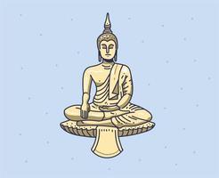 mão de Buda desenhada. estilo de doodle de imaginação vetor