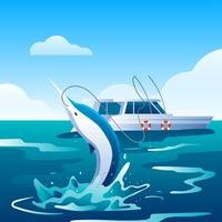Espadarte de pesca em alto mar vetor