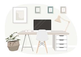 Ilustração em vetor moderna mesa de escritório