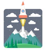 Ilustração de lançamento de foguete vetor