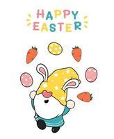 Desenho de orelhas de coelho de gnomo da páscoa fofo fazendo malabarismo com ovos de páscoa, feliz páscoa, desenho fofo desenho vetorial