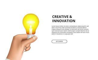 Inovação criativa de mão segurando lâmpada 3d amarela brilhando vetor