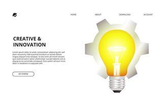 Lâmpada 3D acesa e ilustração de engrenagem para negócios, conceito criativo vetor