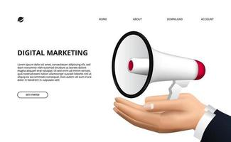 conceito de promoção com ilustração de megafone 3D e mão para publicidade, marketing, informações