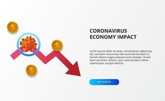 espalhar o impacto da economia do coronavírus. queda da economia. atingiu o mercado de ações e a economia global. conceito de seta de baixa vermelha
