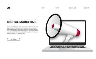 conceito de marketing digital com ilustração de megafone e laptop 3D para promoção e publicidade na internet