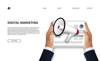 dados do conceito de marketing digital com ilustração da mão segurando o tablet com gráfico de dados e megafone para publicidade de promoção.