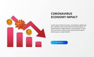 espalhar o impacto da economia do coronavírus. queda da economia. atingiu o mercado de ações e a economia global. gráfico com vírus 3D e conceito de seta de baixa vermelha