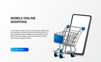 Carrinho de ilustração 3D isométrica com smartphone. conceito de compras e comércio eletrônico da loja online.