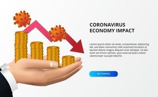 espalhar o impacto da economia do coronavírus. queda da economia. atingiu o mercado de ações e a economia global. mão segurando dinheiro e conceito de seta de baixa vermelha vetor