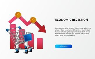 espalhar o impacto da economia e a recessão. mercado de negócios com tendência de baixa. ilustração do carrinho 3d com seta de baixa. depressão da economia da página de destino vetor