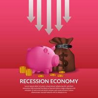 crise de financiamento de negócios. recessão da economia global. inflação e falência. ilustração de bolsa de dinheiro, cofrinho e dinheiro dourado com seta para soltar vetor