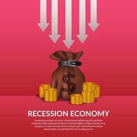 crise de financiamento de negócios. recessão da economia global. inflação e falência. ilustração de bolsa de dinheiro e dinheiro dourado com seta para baixo vetor