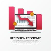 crise de financiamento de negócios. recessão da economia global. inflação e falência. ilustração do laptop de dados e seta vermelha para baixo vetor