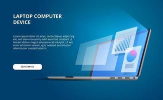 3d isométrica perspectiva abra o laptop do dispositivo com tela brilhante. exibir computador com infográfico e estatísticas de gráfico de pizza de visualização de dados vetor
