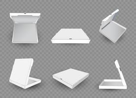 modelo de caixa de pizza branca isolado no fundo branco - embalagens de papelão abertas e fechadas vazias vetor