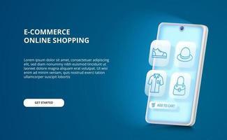 Conceito de comércio eletrônico de compras on-line do aplicativo de brilho de smartphone 3D com ícones da moda de contorno azul para compra e venda. vetor