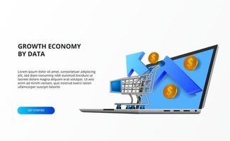 conceito de compras on-line de economia online de crescimento com ilustração de carrinho, computador portátil, seta para cima de crescimento, dinheiro de moeda de ouro. vetor