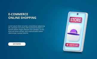 comprar varejo de compras online com aplicativo de comércio eletrônico e ícone de chapéu 3D e perspectiva de smartphone 3D com tela azul brilhante vetor