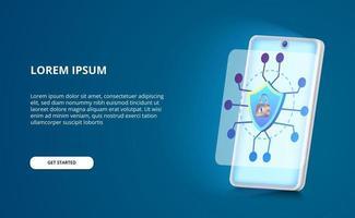 segurança smartphone moderno contra ameaças de hackers e spyware com escudo, conceito de ilustração de cadeado com tela azul brilhante vetor