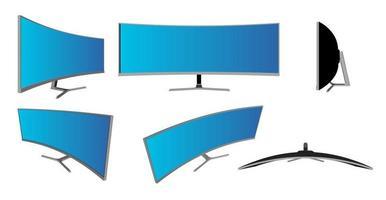 maquete realista 3d curva smart tv. moldura curva da smart tv com modelos de tela em branco vetor