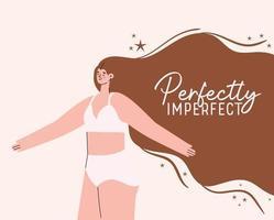 perfeitamente imperfeito plus size mulher em design de vetor de roupa íntima