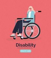 pôster de conscientização sobre deficiência com mulher em uma cadeira de rodas vetor