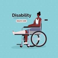 pôster de conscientização sobre deficiência com mulher afro em uma cadeira de rodas vetor