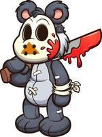 urso de pelúcia com máscara de hóquei vetor