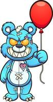 urso malvado com balão vetor