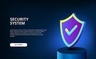 Cor gradiente 3D moderna com escudo para segurança do sistema, antivírus, proteção de dados, privacidade de informações com relâmpagos brilhantes e fundo escuro. vetor