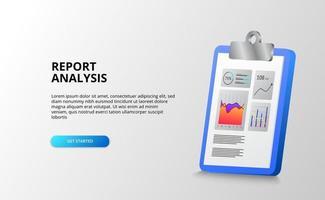 relatório e análise de gráfico de estatísticas de dados com área de transferência 3d para finanças, negócios, contabilidade, escritório. vetor