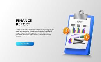 Relatório de finanças com prancheta 3d definir gráfico de estatísticas de papel com dinheiro dourado para negócios, contabilidade, economia. vetor