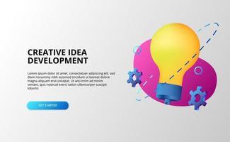 conceito de desenvolvimento de ideia criativa com lâmpada e engrenagens de cor pop gradiente moderno 3d. vetor