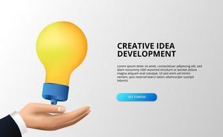 crie o desenvolvimento de grandes ideias com a mão e a lâmpada 3D para brainstorming, desenvolvimento, inspiração. vetor