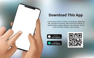 publicidade de banner de página de destino para download de aplicativo para celular, mão segurando o smartphone com bokeh de fundo. botões de download com modelo de código QR de digitalização vetor