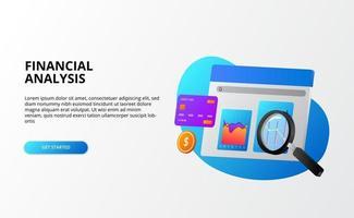 finanças economia análise de negócios com gráfico e lupa 3d para o conceito de auditoria para a página de destino vetor