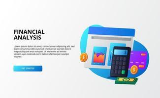economia de mercado de crescimento, análise e auditoria e conceito de negócio de finanças de consultoria. Calculadora 3D, moeda, dinheiro, gráfico, cartão de crédito para página de destino vetor