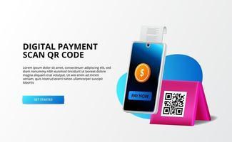 pagamento digital, conceito sem dinheiro. pagar com telefone e digitalizar código qr, banco digital e dinheiro conceito de ilustração 3D para página de destino vetor