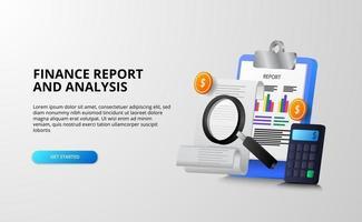 Conceito de ilustração 3D de análise de relatórios financeiros e monetários para auditoria fiscal, econômica